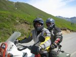 Tracy (rider) and Mike (pillion) going to pick up a bike in Hatchers Pass